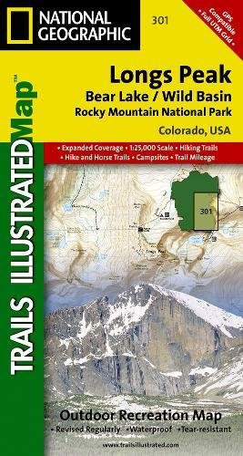 Longs Peak Rocky Mountain National Park [Bear Lake, Wild Basin] (National Geographic Trails Illustrated Map) [National Geographic Maps - Trails Illustrated] (Tapa Blanda)