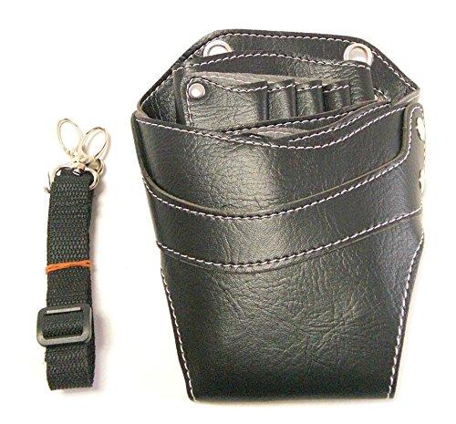 T&Y シザーケース 高級天然本革 美容師 トリマー プロ用 6丁入 レザー シザーバッグ ケース ブラック ステッチ TYー14ー027