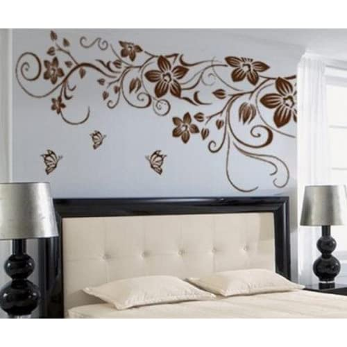 TRURENDI Large Flower Butterfly Removable PVC Wall Sticker Home Decor Art Decal