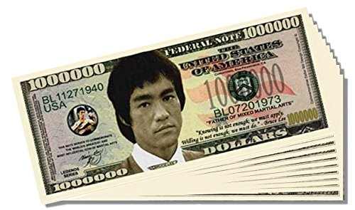 Bruce Lee Million Dollar Bill - 25 Count with Bonus Clear Protector & Christopher Columbus Bill