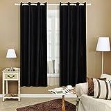 Songmics 2er-Set Vorhang Verdunklungsvorhang mit �sen schwarz 145 x 175 cm LRB175H-2