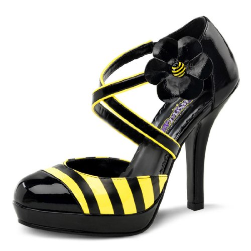 Bumble Bee Inspired Black and Yellow Shoes Women's 4.5 Inch Heel Dorsay Pump