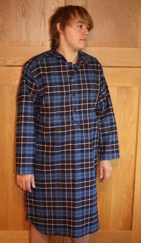 Mens JOCKEY Long Sleeved Brushed Cotton Check Nightshirt Sleepwear Medium