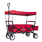 Red Outdoor Sport Collapsible Folding Wagon W/ Canopy Garden Utility Shopping Travel Cart Large All Terrain Beach...