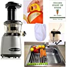 Omega VRT400 Juicer Pack3 + Folding Drain Rack + Nut Milks Bag + Juicing eBook,recipes + Cocodrill Coconut Tool Heavy Duty Vertical Single Auger Low Speed Juicer