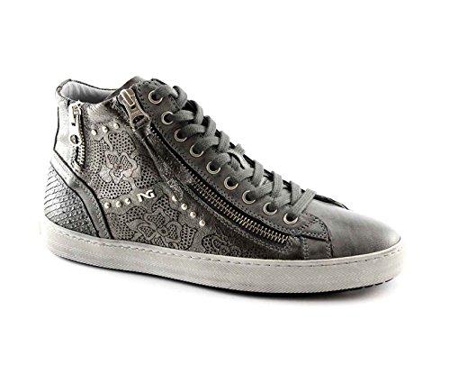 NERO GIARDINI 16210 grigio scarpe donna mid zip sportive sneaker luxury 38
