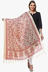 Riti Riwaz Off white & Red Art Silk Printed Dupatta BG243