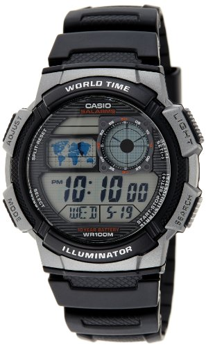 Casio Men's AE1000W-1BVCF Silver-Tone and Black Digital Sport Watch with Black Resin Band image