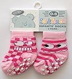 Tacto suave Pack de 2pares de calcetines antiderapantes bebé Rosa 0-6, 6-12o 12-18meses rosa rosa Talla:0 - 6 MOIS
