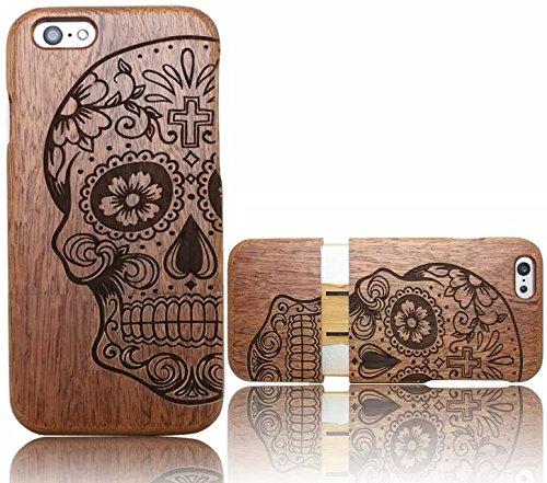 Wooden-Case-CoverVandot-Unico-Reale-Handmade-Legno-Naturale-WoodBack-Lavorato-Custodia-Per-Apple-iPhone-6-Plus-6S-Plus-55-Pollici-Cranio