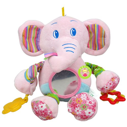 Elc Baby Early Development Rattle Toys Multifunctional Plush Pink Elephant Bed Hang Ring Bell front-523385
