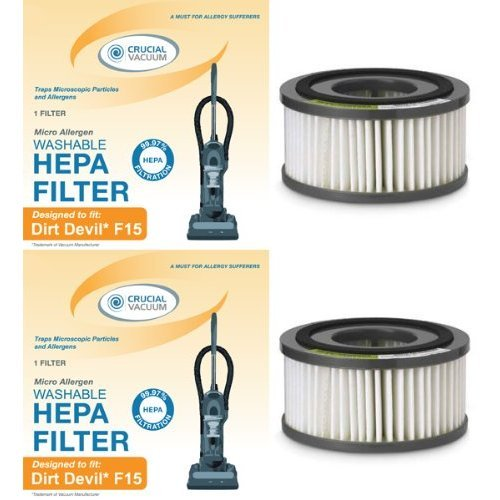 2 Washable Dirt Devil F15 Filters for ALL Dirt Devil Quick Vac Models; Compare to part #1-SS0150-000, 3-SS0150-001 (3SS0150001)