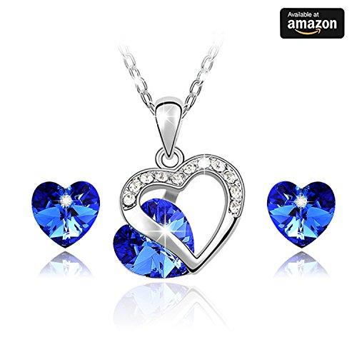 Oro bianco 18K Placcato * Elegante a forma di cuore * blu cristalli, Collana con ciondolo da cristalli Swarovski e cristalli austriaci Eye-catching da donna collana e orecchini set di gioielli