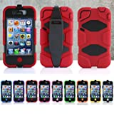 Survivor Heavy Duty Shock Proof Tough iPhone 4 4S Case with Belt Clip Holster - Red