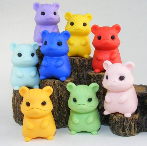 New in January 2011-8pcs Japanese Iwako Hamster Erasers
