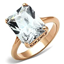 buy Women'S 9 Ct Emerald Cut Solitaire Cz Rose Gold Stainless Steel Engagement Ring