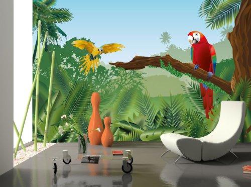 Abwaschbare Tapete F?r Kinderzimmer : Fototapete Tapete Natur Dschungel Wasserfall Pflanzen Foto 360 Cm X