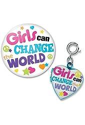 CHARM IT! Girls Can Change The World Locket Charm & Button Pin Set