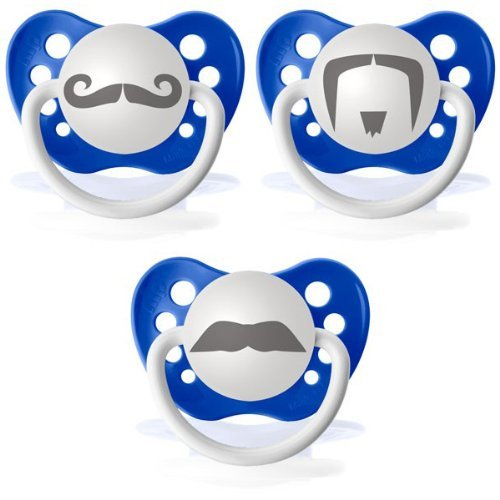 Personalized Pacifiers Mustache 3 Pack, Dark Blue front-3155