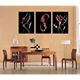 Unique Wall Clock Splashing Wine & Glasses Canvas Print Set Great Home Decals