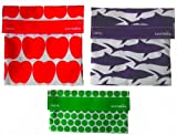 LunchSkins Reusable Sandwich and Snack Bags Set - 3 Pack - Red Apple, Navy Shark, Green Dots