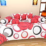 Bharti Home Fab Cotton Diwan Set (Pack of 8)- 90 inches x 60 inches, Red