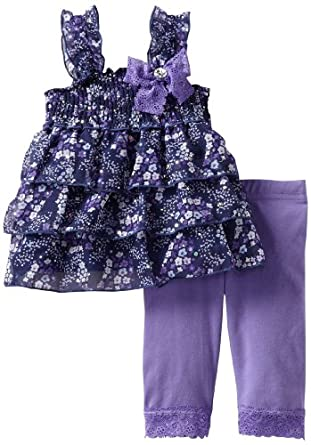 Little Lass Baby-Girls Infant 2 Piece Skimmer Set With Flowers, Purple, 12 Months