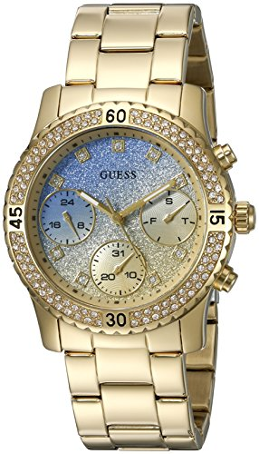 guess-womens-u0774l2-sporty-gold-tone-watch-with-blue-dial-crystal-accented-bezel-and-stainless-stee