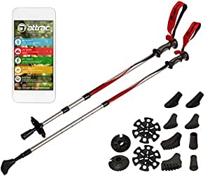 Bâtons de randonnée - Batons de marche / trekking - avec 8 embouts AntiChocs et hauteur ajustable (de 67 à 137 cm) + 2 rondelles neige - avec système anti-chocs