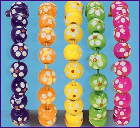 12 Wooden Daisy Bead Bracelets
