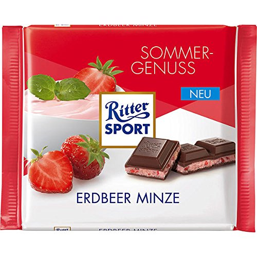 Pack of 3, Ritter Sport Strawberry and Mint Chocolate