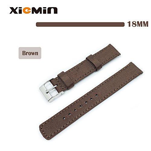 XIEMIN® 18MM Fabric Nylon Leather Watch Band/ Strap Watchband for Asus Zenwatch 2nd, Huawei Watch, Withings Activit¨¦ Pop, Regular Replacement Strap 18mm-band(Brown)