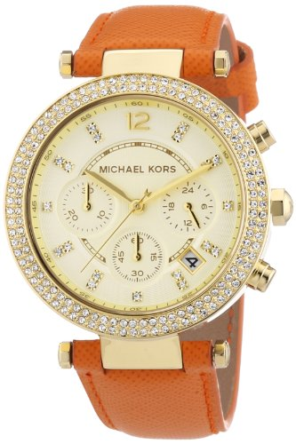 Michael Kors Mk2279 Ladies Gold And Orange Parker Chronograph Watch