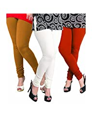 Lux Women Cotton Leggings -off White, Biscuit, Rust. -Free Size (Set Of Three) L 09_38_50