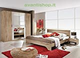 Chambre A Coucher Best Deals - AVANTI TRENDSTORE - Chambre complète couleur chêne San Remo clair/blanc - 1 lit avec 2 tables de chevet et 1 armoire