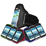 Black Sports Jogging Armband Case Cover Comfortable Holder Soft Gym Adjustable Running For Windows® 8S by HTC® (L) Mobile Cellular Phone