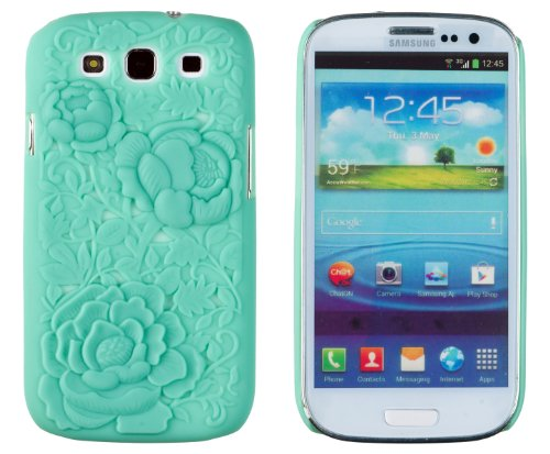 Rose Flower 3D Design Slim Fit Hard Case For Samsung Galaxy S3 (At&T, T-Mobile, Sprint, Verizon, Us Cellular, International) [Retail Packaging By Dandycase With Free Keychain Lcd Screen Cleaner] (Mint Green)
