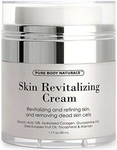 Skin Revitalizing Cream - Glycolic Acid Moisturizer 10% Naturally Exfoliates, Improves Elasticity, Visibly Reduces Wrinkles and Deeply Moisturizes - Allantoin, AHA, Hydrolyzed Collagen primary