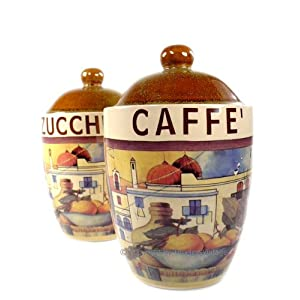 2 italian vintage tuscan kitchen canister set jars for Italian kitchen set