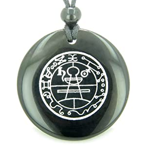 Secret Seal of Solomon Protection Powers Talisman Black Agate Magic Pendant Necklace