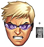 Mask Pack - Hawkeye from Marvel's The Avengers Single Card Party Face Mask includes 6x4 inch (15cm x 10cm) Star Photo