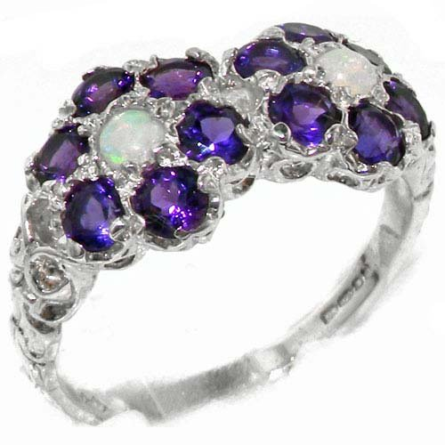Rare Solid Sterling Silver Natural Amethyst & Fiery Opal Double Daisy Ring - Size 11.75 - Finger Sizes 4 to 12 Available - Suitable as an Anniversary ring, Engagement ring, High Quality ring, or Promise ring