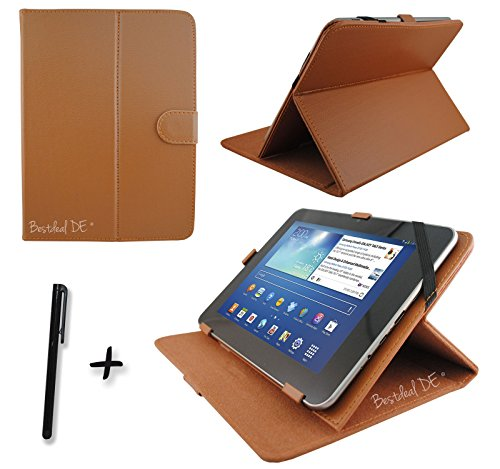 "Braun PU Lederner Tasche Case Hülle für Point of View ProTab 3XXL & ProTab 25XXL 10.1"" Zoll Tablet PC + Stylus"