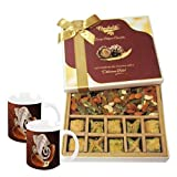 Baklava & Cocktail Dry Fruit Box With Diwali Special Coffee Mugs - Diwali Gifts - Diwali Gifts