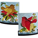Boughs Of Holly Hand Painted Glass Candle Holder (Set Of 2)