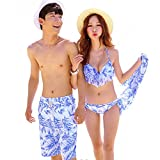 【RinoRinoSwimwear】レディース&メンズ水着 トロピカル柄 ビキニ&パレオ ワンピース サーフパンツ ペアカップル RinoRinoオリジナル保存袋付き