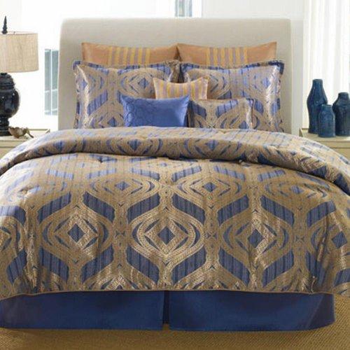 patti labelle temptation 9 piece queen comforter bed in a bag set blue gold blue. Black Bedroom Furniture Sets. Home Design Ideas