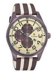 Titan Octane Multi-Function Chronograph Beige Dial Men's Watch - 9487QP01