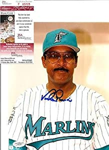 Vada Pinson Autographed Photo - Florida Marlins 8x10 W jsa - Autographed MLB Photos by Sports+Memorabilia