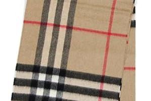 バーバリー・マフラーカシミア100%☆カラバリ8色☆BURBERRYチェック-G ICON168-8-178cm/ホワイト/ブラック【並行輸入品】